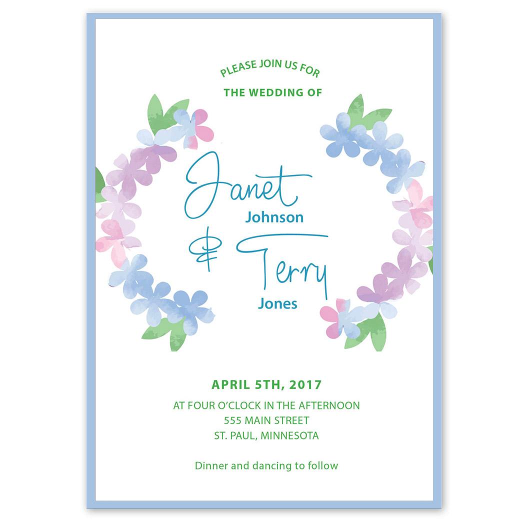 Blue Pink Floral Wedding Invitation   PGB Wedding Creations