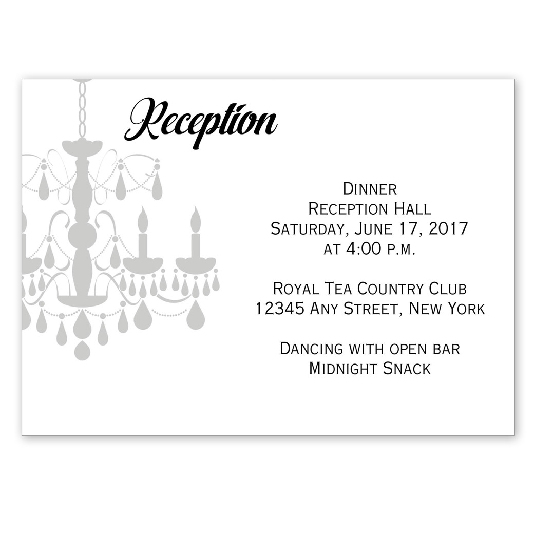 Chandelier reception cards pgb wedding creations reheart Gallery